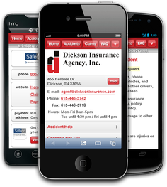Mobile insurance website for Dickson Insurance Agency, Inc. at m.dicksoninsurance.com